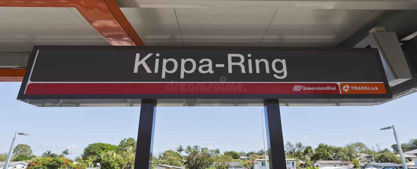 Kippa Ring Train Station. Name sign of the new Kippa Ring Railway Station on the Redcliffe Peninsula Line, Australia royalty free stock image