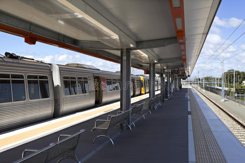Kippa Ring Train Station. View of the platforms and train on the new railway station of Kippa Ring in the Redcliffe Peninsula Line, Australia stock photos