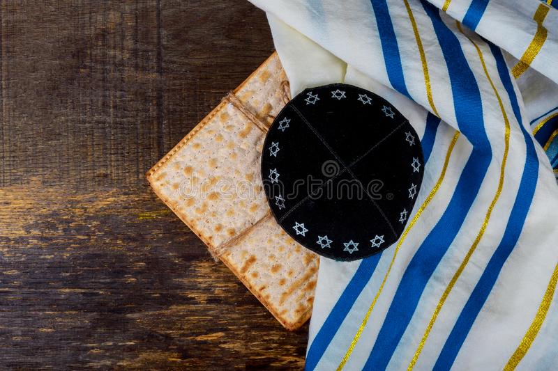 Kippa a small hat Jewish pesah celebration concept jewish holiday Passover. Matzot and tallit stock images