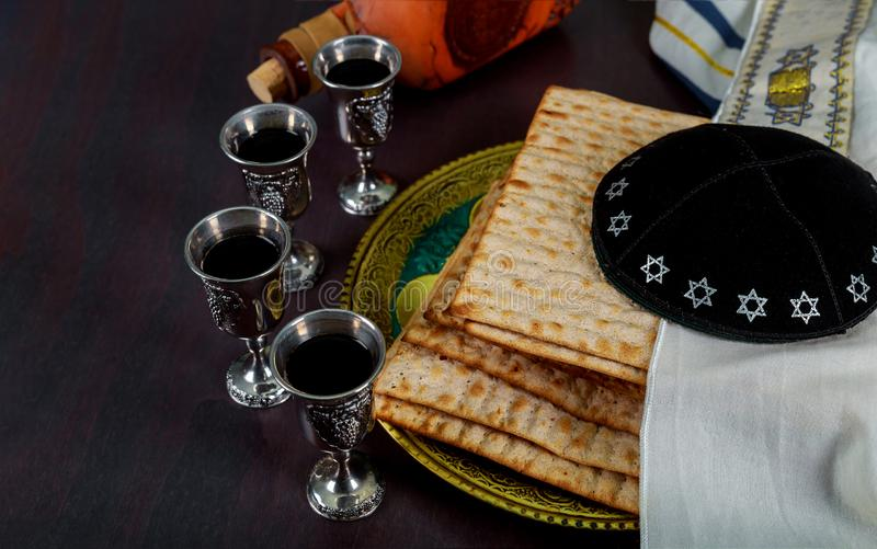 Kippa a small hat Jewish pesah celebration concept jewish holiday Passover. Matzot and tallit royalty free stock photo