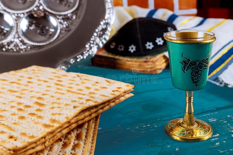 Kippa a small hat Jewish pesah celebration concept jewish holiday Passover. Matzot shofar and tallit royalty free stock images