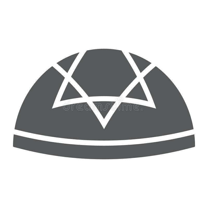 Kippah glyph icon, national and hat, hebrew bale sign, vector graphics, a solid pattern on a white background. Kippah glyph icon, national and hat, hebrew bale vector illustration