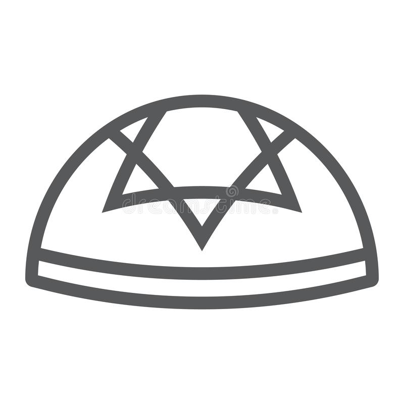Kippah line icon, national and hat, hebrew bale sign, vector graphics, a linear pattern on a white background. Kippah line icon, national and hat, hebrew bale vector illustration