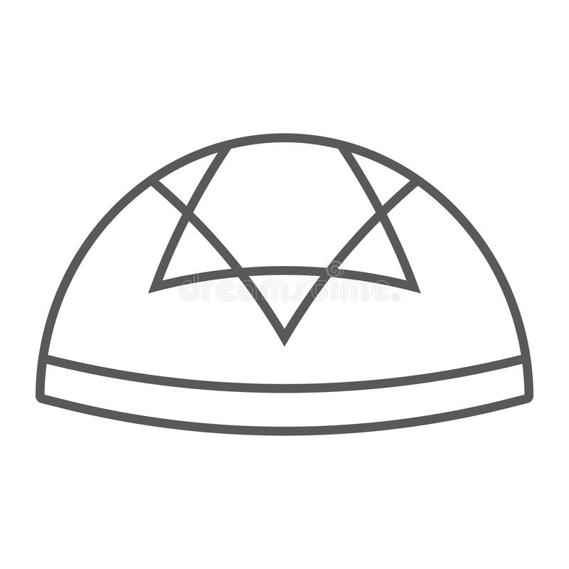 Kippah thin line icon, national and hat, hebrew bale sign, vector graphics, a linear pattern on a white background. Kippah thin line icon, national and hat stock illustration