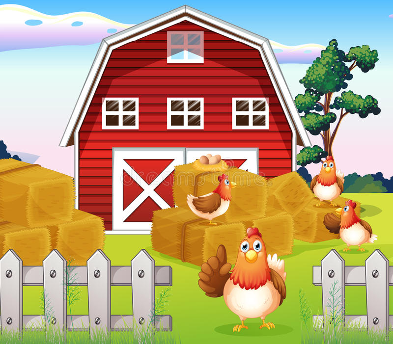 Kippen bij het landbouwbedrijf dichtbij rode barnhouse stock illustratie
