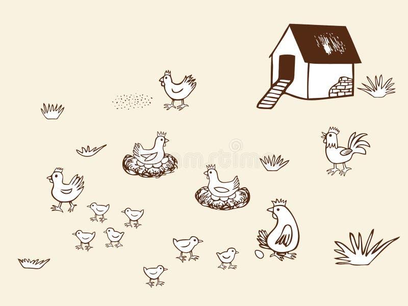 Kippen biolandbouwbedrijf in platteland. stock illustratie