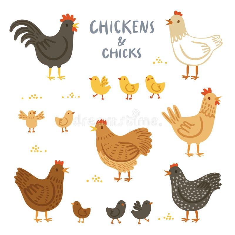 Kippen en kuikensillustratiereeks stock illustratie
