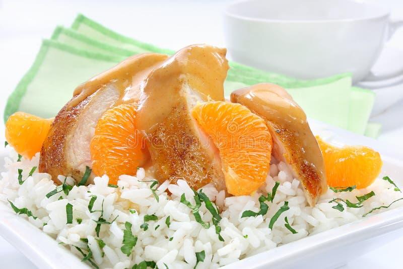 Kippenborst met mandarin royalty-vrije stock foto