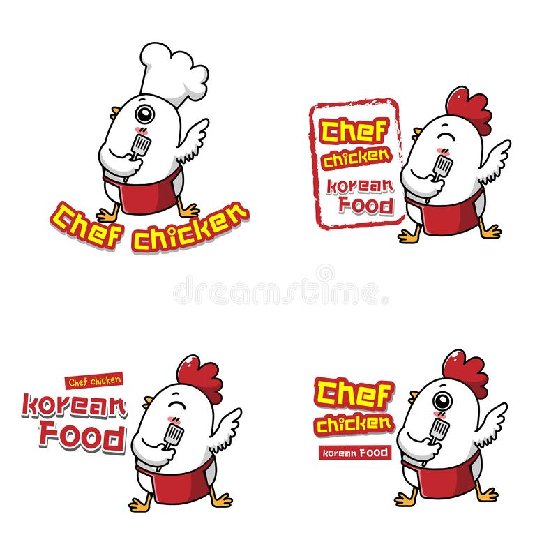 Kippenchef-kok voor Koreaanse keuken stock illustratie