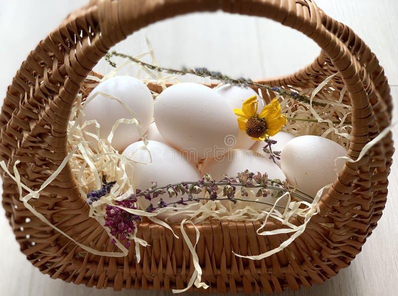 Kippeneieren in een mand Mooie witte eieren royalty-vrije stock afbeelding