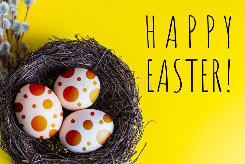 Kippeneieren in een nest met een takje van wilg Het gelukkige concept van Pasen stock afbeelding