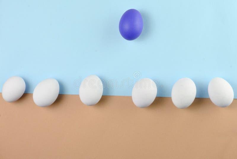 Kippeneieren op een pastelkleurachtergrond, concept uniciteit, minimalism, creatieve Pasen-achtergrond stock afbeelding