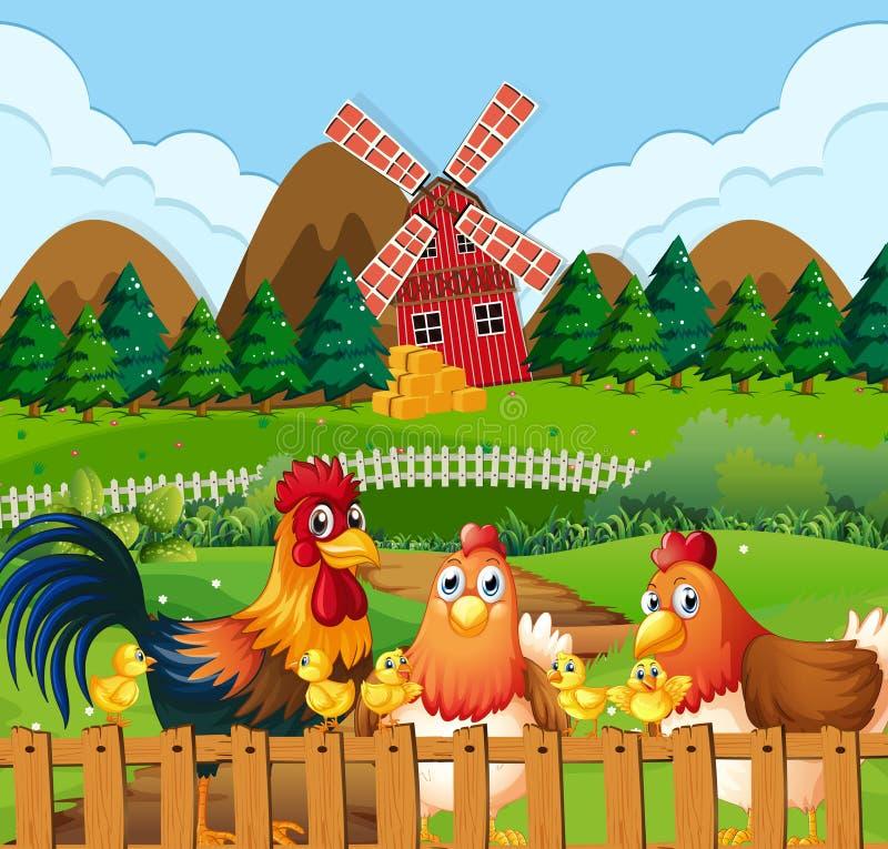 Kippenfamilie bij landbouwgrond royalty-vrije illustratie