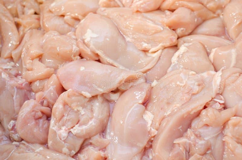 Kippenfilet vleesfabriek van kippenproducten Het slagerswerk stock foto's