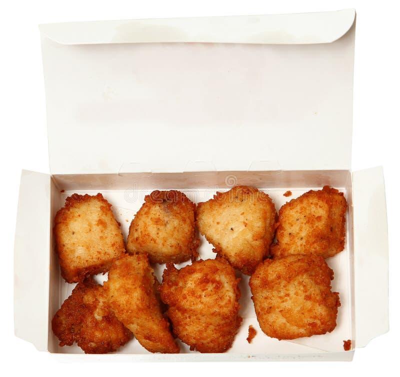Kippengoudklompjes in een Snel Voedselrestaurant om te gaan Doos royalty-vrije stock afbeeldingen
