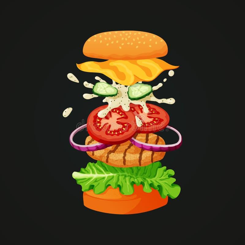 Kippenhamburger die in lagen wordt gescheiden die alle ingrediënten tonen vector illustratie