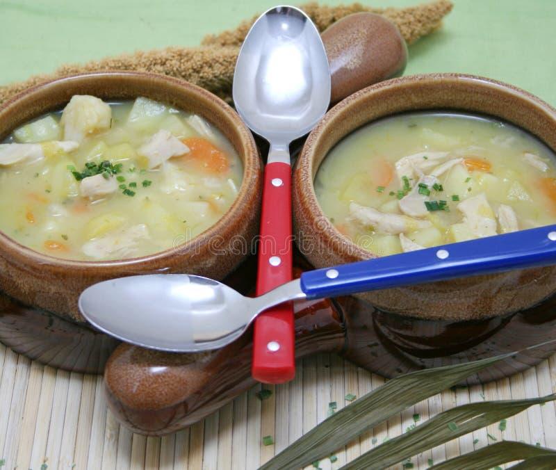 Kippensoep met aardappels royalty-vrije stock foto's