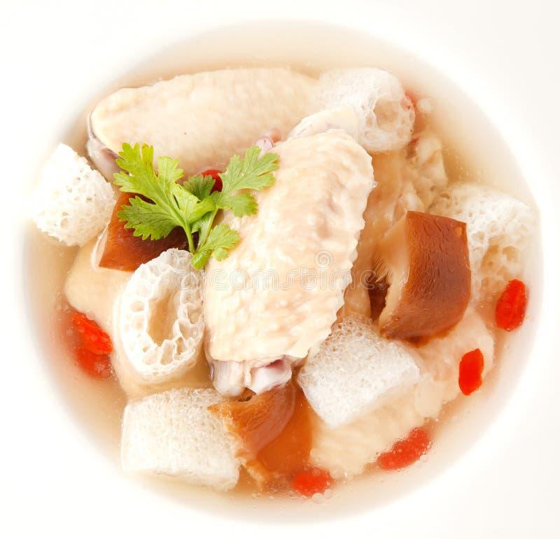 Kippensoep met Chinees kruid en bamboe royalty-vrije stock afbeeldingen