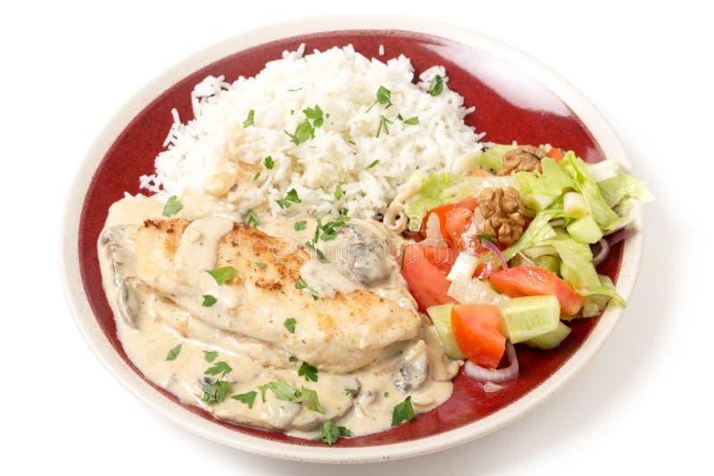 Kippenstroganoff met rijst stock foto