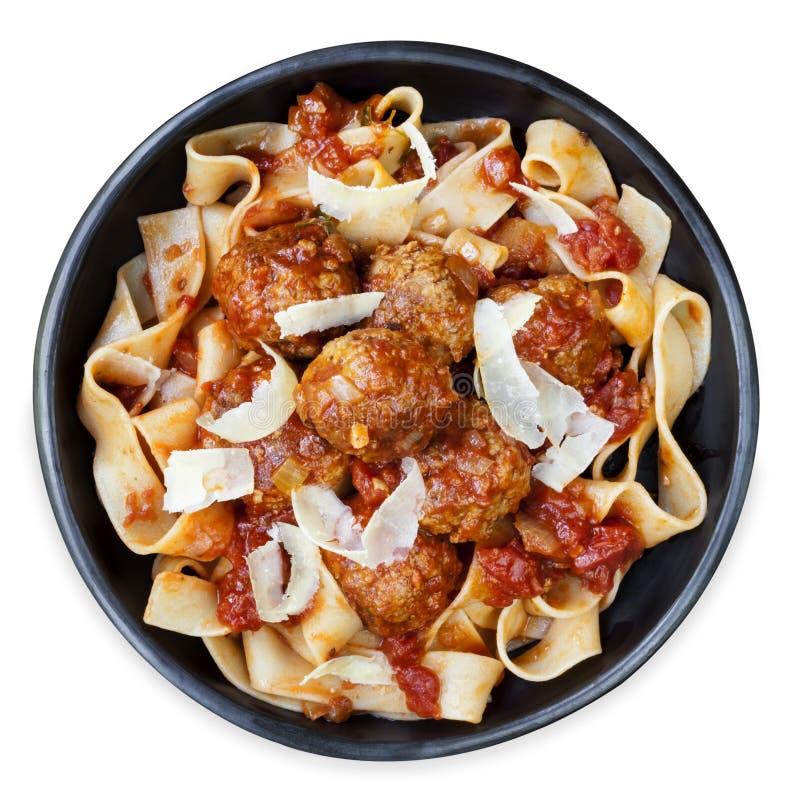 Kippenvleesballetjes met Pappardelle-Lintdeegwaren stock afbeeldingen