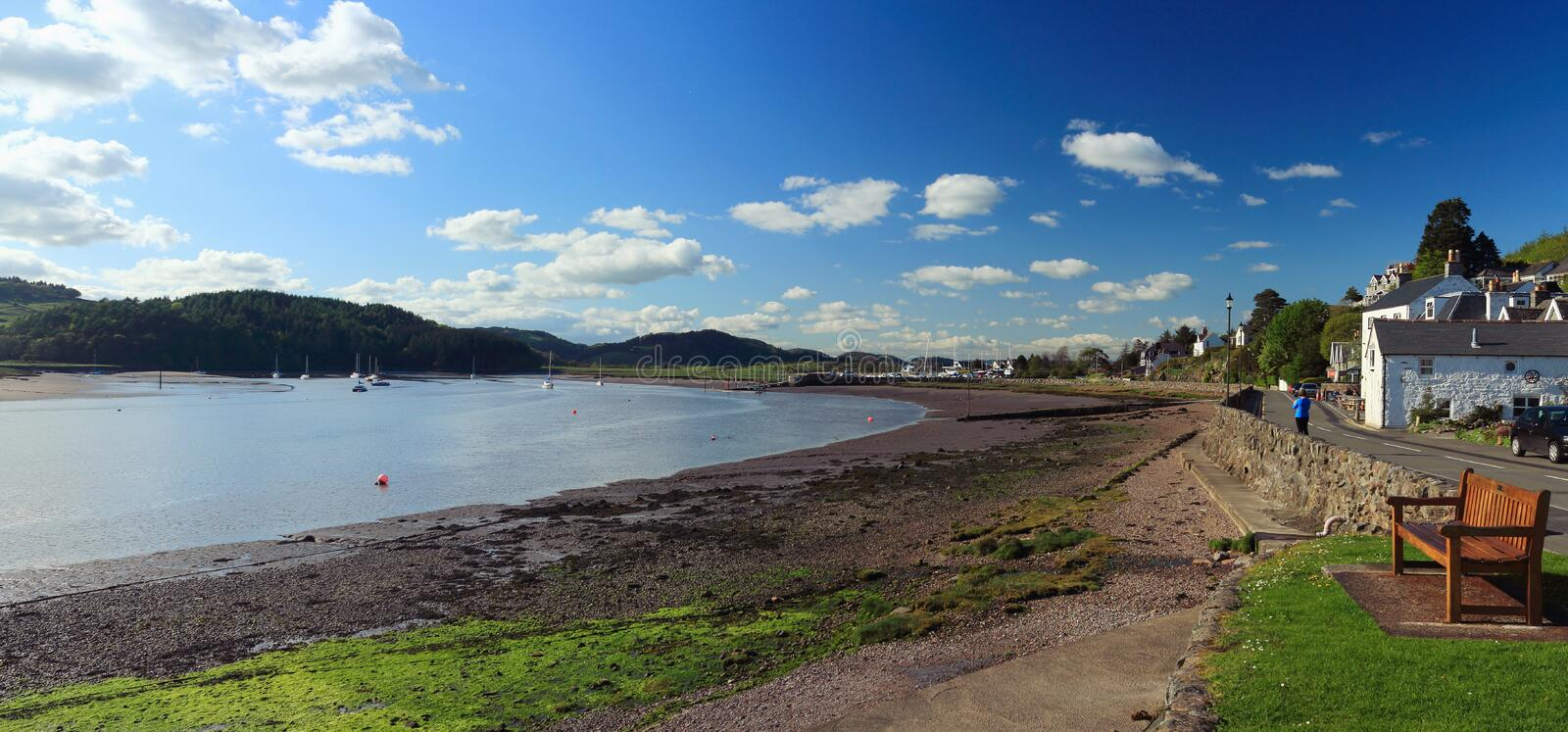 Kippford at Urr Water Estuary, Dumfries and Galloway, Scotland, United Kingdom. The Victorian houses along the main street of Kippford along the Urr Water stock image