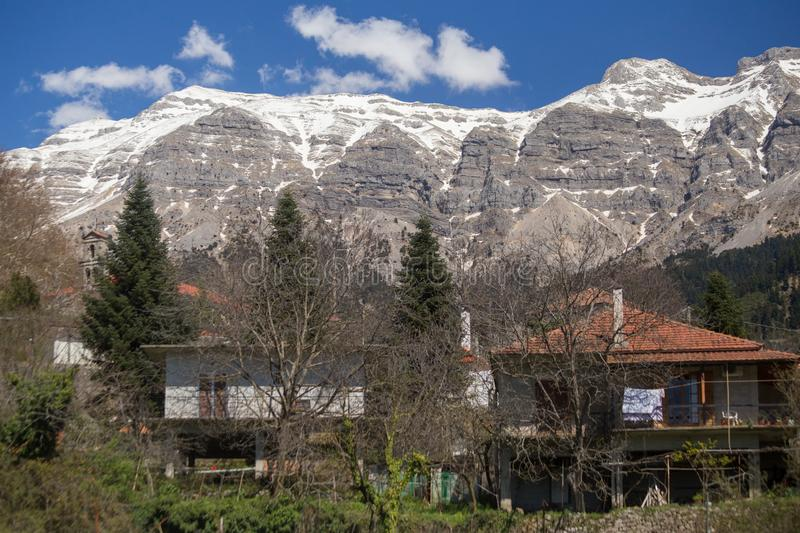 Kipseli village in Arta perfecture view from central square to the mountain. Tzoumerka greece royalty free stock photography