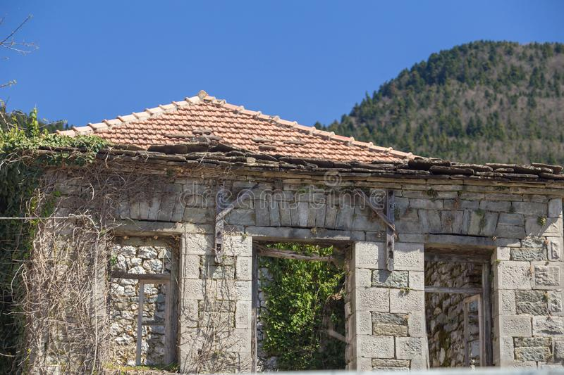 Kipseli village old houses in Arta greece. Kipseli village old houses and ruins  in Arta greece stock photo