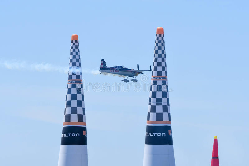 Kirby Chambliss of USA performs during Red Bull Air Race royalty free stock photos