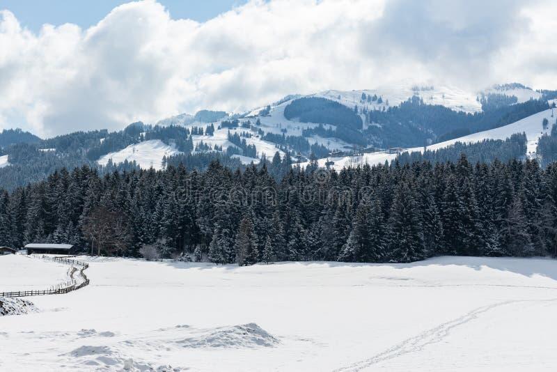 Kirchberg dans le Tirol, le Tirol/Autriche - 26 mars 2019 : Les Alpes autrichiens aménagent en parc avec les montagnes couvertes image libre de droits