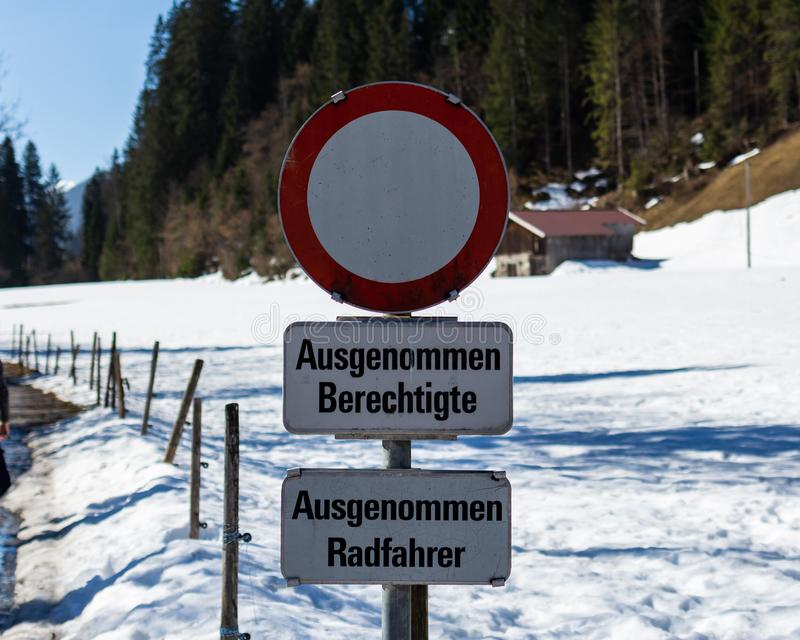 Kirchberg in Tirol, Tirol/Austria - March 24 2019: Road sign in Austria no traffic allowed except for bikers. And those with permission stock photo