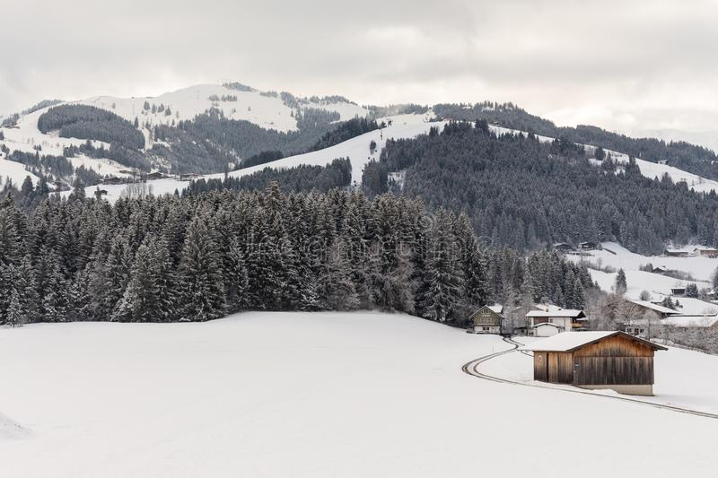Kirchberg in Tirol, Tirol/Austria - March 26 2019: winter landscape covered with snow. As seen from the balcony of the hotel royalty free stock photos