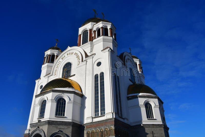 Kirche auf Blut zu Ehren aller Heiligen Resplendent im russischen Land stockfotos