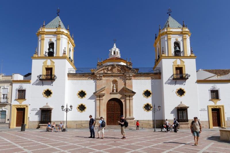 Kirche auf dem Hauptort von Ronda lizenzfreie stockbilder