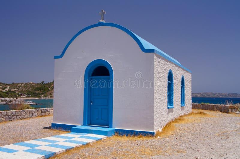 Kirche auf der Insel von Kos in Griechenland auf der Küste lizenzfreies stockfoto