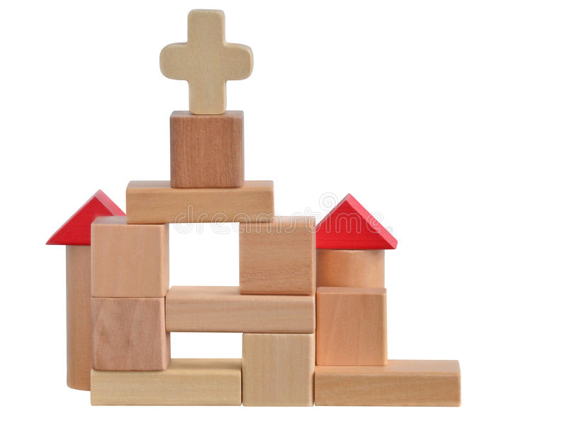 Kirche blockiert Spielzeug stockbilder