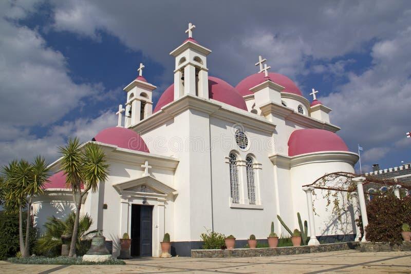 Kirche in Capernaum, Israel lizenzfreie stockfotos