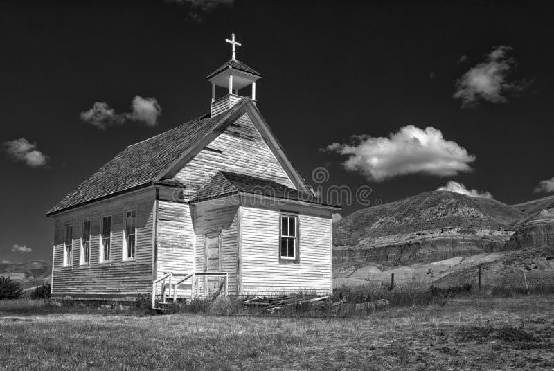 Kirche in den Alberta-Ödländern stockbild
