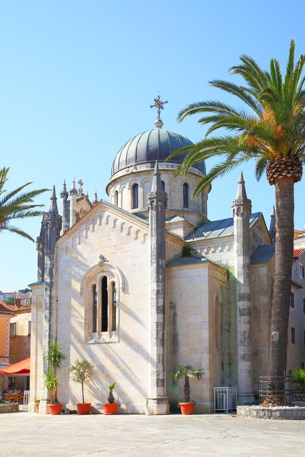 Kirche in der alten Stadt von Herceg Novi lizenzfreies stockfoto