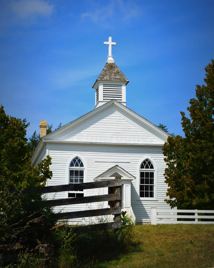 Kirche an der Alten Welt Wisconsin stockfoto