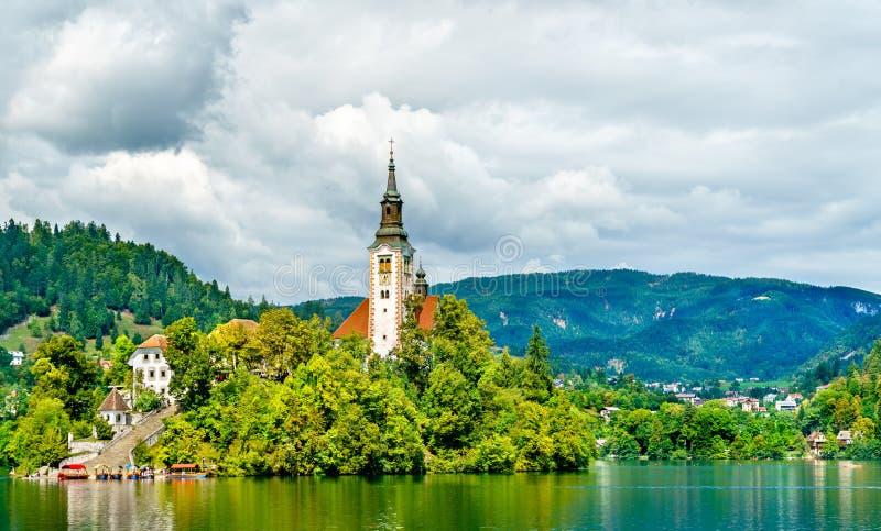 Kirche der Annahme von Mary auf ausgebluteter Insel in Slowenien lizenzfreies stockbild
