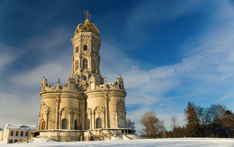 Kirche der heiligen Jungfrau des Zeichens bei Dubrovitsy stockbilder