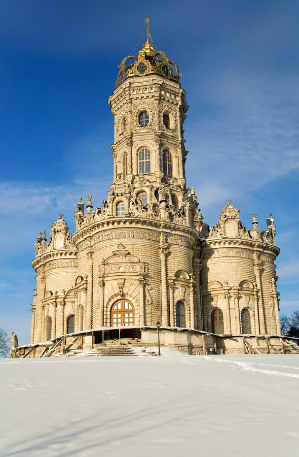 Kirche der heiligen Jungfrau des Zeichens bei Dubrovitsy stockfoto