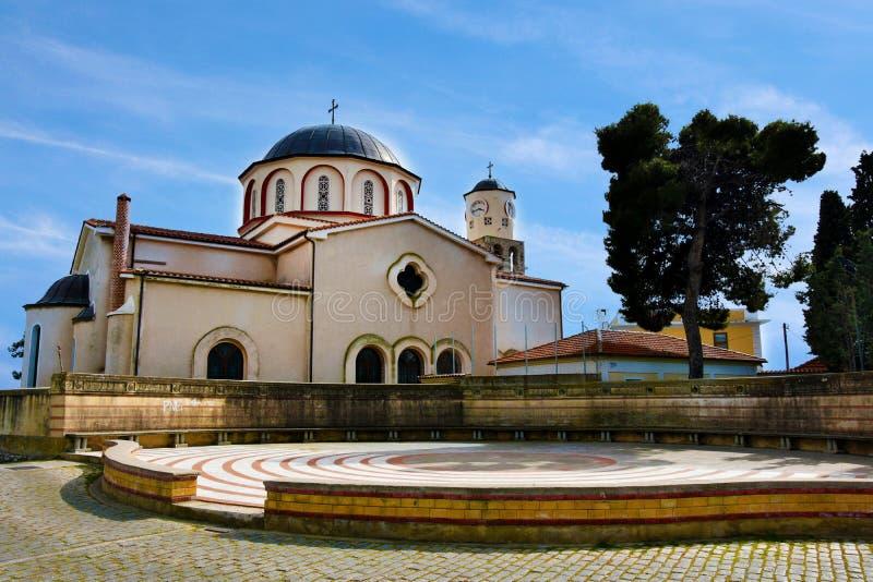 Kirche der Jungfrau Mary Panagia in Kavala stockbilder
