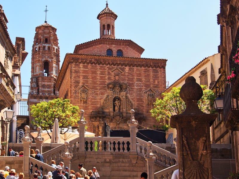 Kirche des Carmelites und der Turm von Uberto, Pueblo Espana, Barcelona, Spanien lizenzfreies stockbild