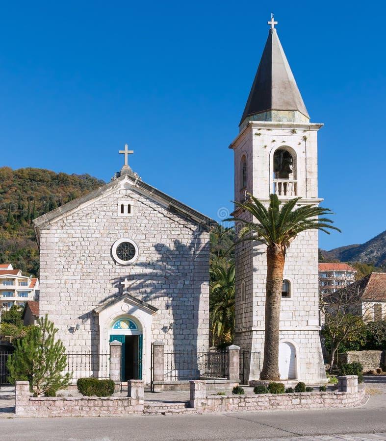 Kirche des Heiligen Roch. Donja Lastva, Montenegro stockbild