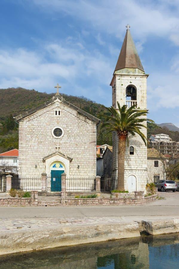 Kirche des Heiligen Roch Dorf Donja Lastva, Montenegro stockbilder