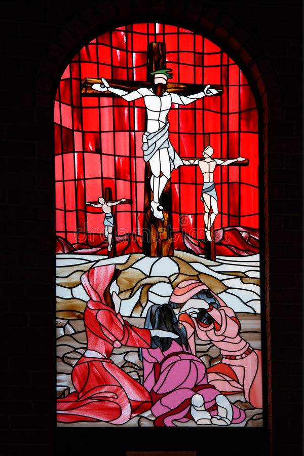 Kirche-Fensterscheibenrot Stockfotos