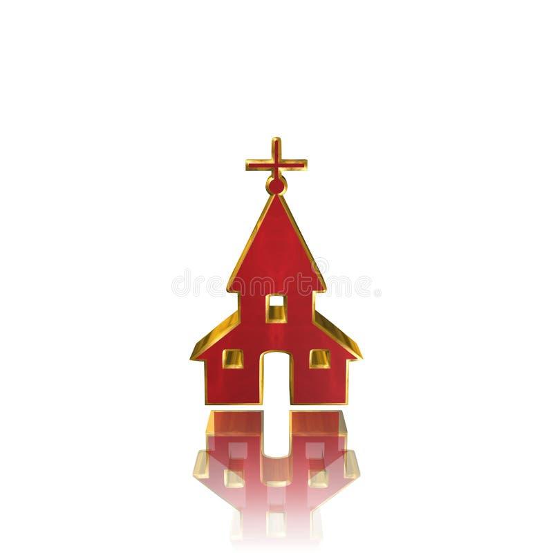 Kirche, Ikone, Zeichen, beste Illustration 3D lizenzfreie abbildung