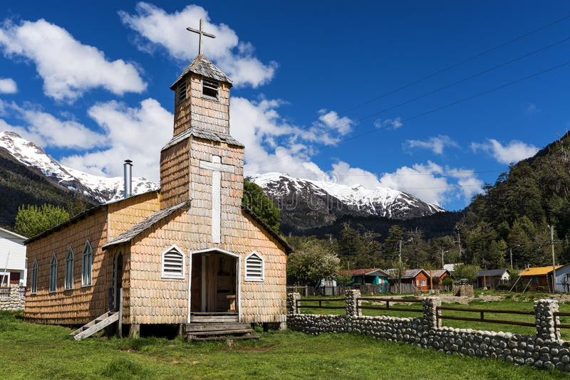 Kirche im Carretera Austral stockbilder