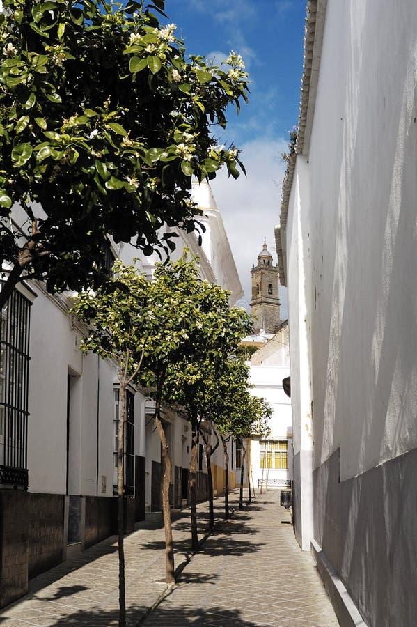 Kirche im Hintergrund in Medina Sidonia, stockbild